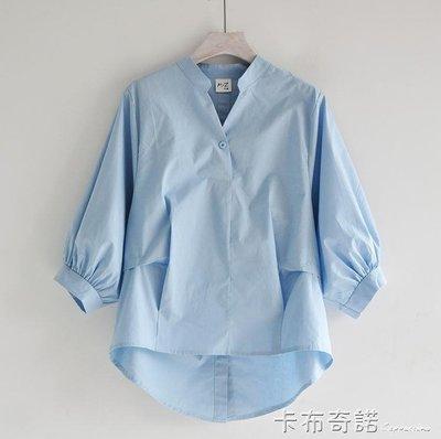 簡約前短後長不規則上衣 V領七分燈籠袖寬鬆韓版白色女式襯衣