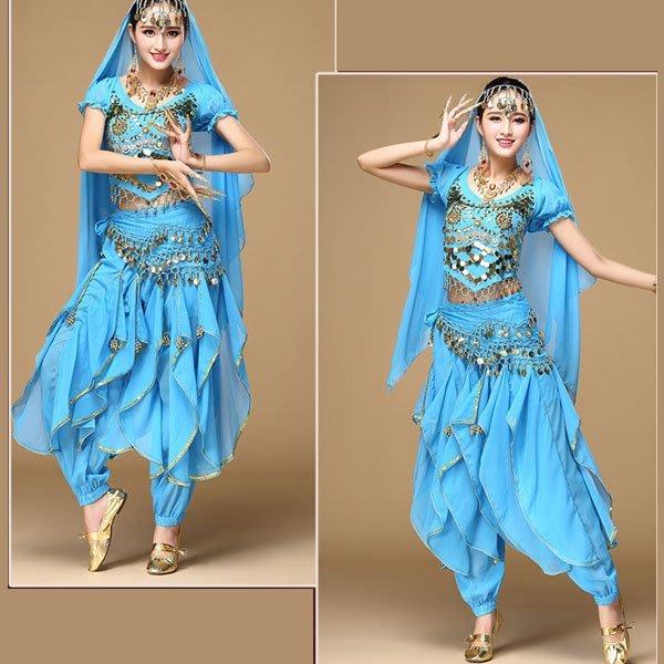 5Cgo【鴿樓】會員有優惠 531799558975 印度舞蹈服裝旋轉褲表演服套裝新款 肚皮舞舞台演出練功服女四件套