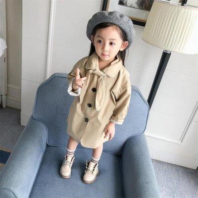 女童裝秋裝風衣外套長款新款兒童裝寶寶中小童大衣1-2-3-4歲5