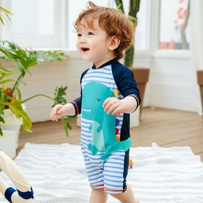 【小阿霏】兒童一件式泳衣 男童兩用溫泉連身寶泳衣 男孩寶寶條紋小恐龍單件式泳裝 男孩速乾連體泳裝SW162