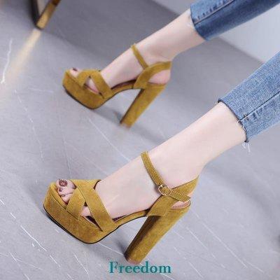 Freedom女鞋性感魚嘴涼鞋女2019新款夏季正韓百搭防水臺粗跟一字扣帶高跟鞋女