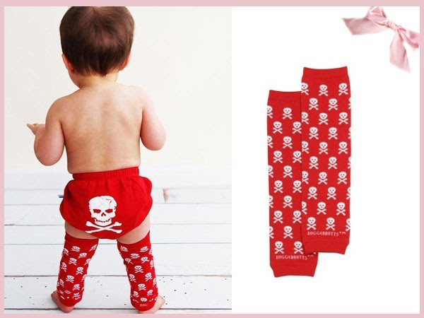 【童夢屋】美國rufflebutts 紅色骷髏頭襪套.肘套 ONE SIZE .特價【RUFFLEG00】~5