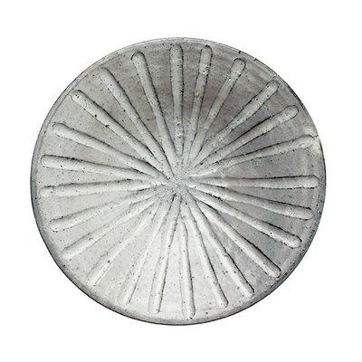 [偶拾小巷] 日本製 美濃燒 六魯 粉引深彫7寸盤22cm 6754