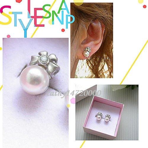 。 ☆凱希小舖☆。♥♥ 天然鑽石 日本珍珠 k金耳環No.6439
