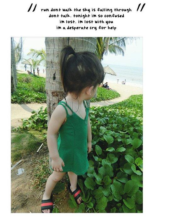 【溜。溜。選物】春季新款女童純色吊帶时尚公主裙背心洋裝連衣裙