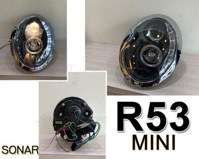 》傑暘國際車身部品《全新 MINI R53 R50 R52 COOPER MINI ONE 黑框 R8燈眉 大燈 頭燈