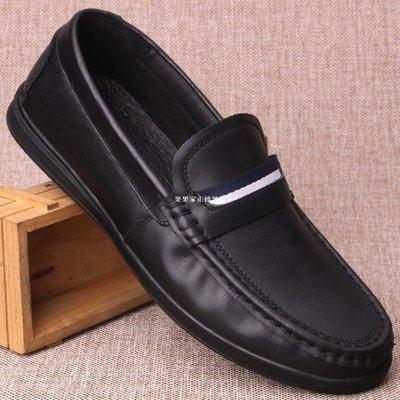 果果家正韓男鞋春夏外貿休閒皮鞋真皮男鞋一腳蹬軟底駕車鞋頭層牛皮豆豆鞋單鞋子