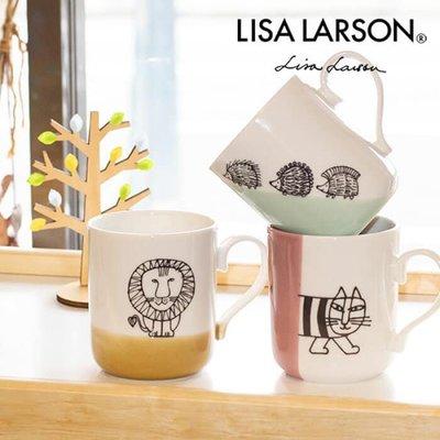 ˙TOMATO生活雜鋪˙日本進口雜貨人氣日本製北歐風格LISA LARSON雙色塗鴉刺蝟貓咪獅子圖樣馬克杯(預購)