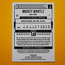 Mickey Mantle 2018 Donruss Optic 漂亮明星卡