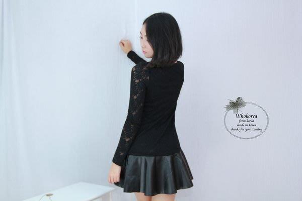 呼韓-洋裝【O2801-04】正韓 韓製全蕾絲拼接皮裙顯瘦氣質優雅甜美長版洋裝/傘洋(現貨)