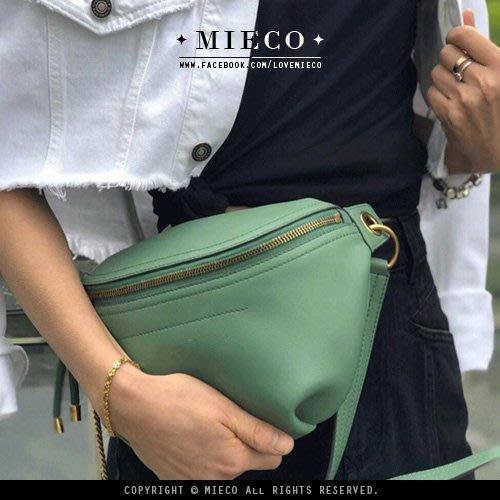 【Mieco】率性鏈條釦環 多用式真皮腰包/肩背包/胸包