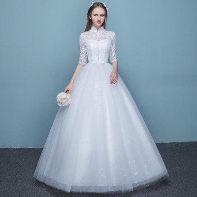 日和生活館 婚紗禮服新娘蕾絲婚紗春夏季立領顯瘦女復古簡約齊地婚紗S686