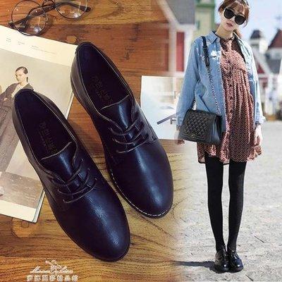 現貨出清英倫學院風粗跟小皮鞋漆皮繫帶復古牛津鞋尖頭黑色女單鞋KSDS9844