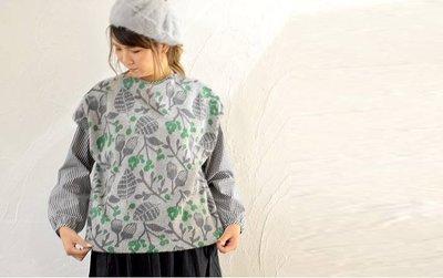 NATURAL LAUNDRY旗下grin【2018 AW】北歐花柄安哥拉羊毛針織背心