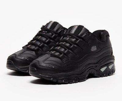 =E.P=Skechers ENERGY 老爹鞋 休閒鞋 女款 皮革 全黑 2250BBK