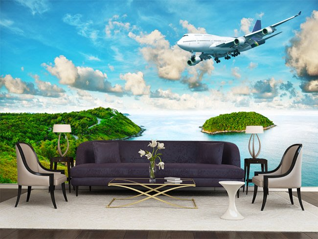 客製化壁貼 店面保障 編號F-745 海島飛機 壁紙 牆貼 牆紙 壁畫 背景牆 星瑞 shing ruei