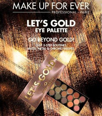 2019新品 MAKE UP FOR EVER Let's Gold 金緻炫彩18色眼影盤 淘金盤 16.2g 大地色調 lets gold Catie大推薦
