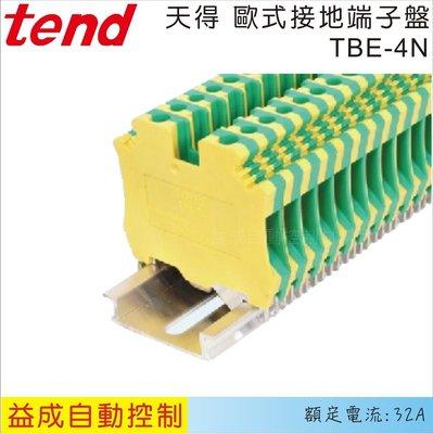 【益成自動控制材料行】TEND天得 歐式接地端子盤TBE-4N