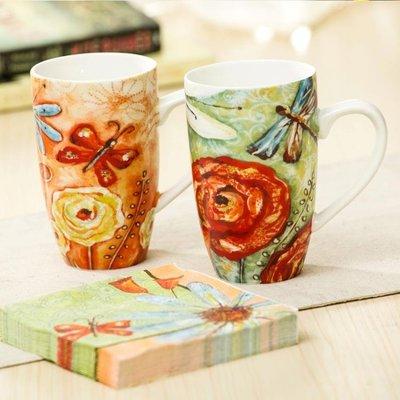 【蘑菇小隊】愛屋格林馬克杯套裝陶瓷杯禮盒對杯紙巾套裝咖啡杯禮品情侶杯-MG17661