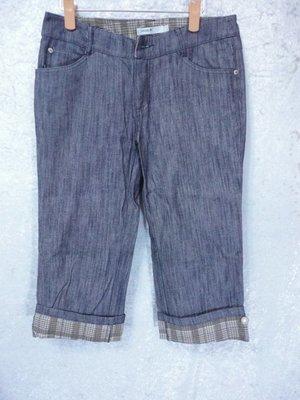 Hana~反摺格紋設計牛仔褲~SIZE:L~99元起標