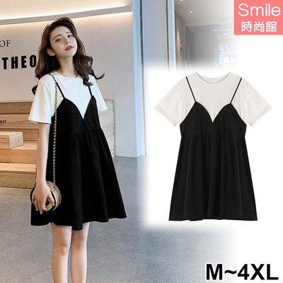 【V3113】SMILE-微夏甜氛‧黑白撞色假兩件連身裙