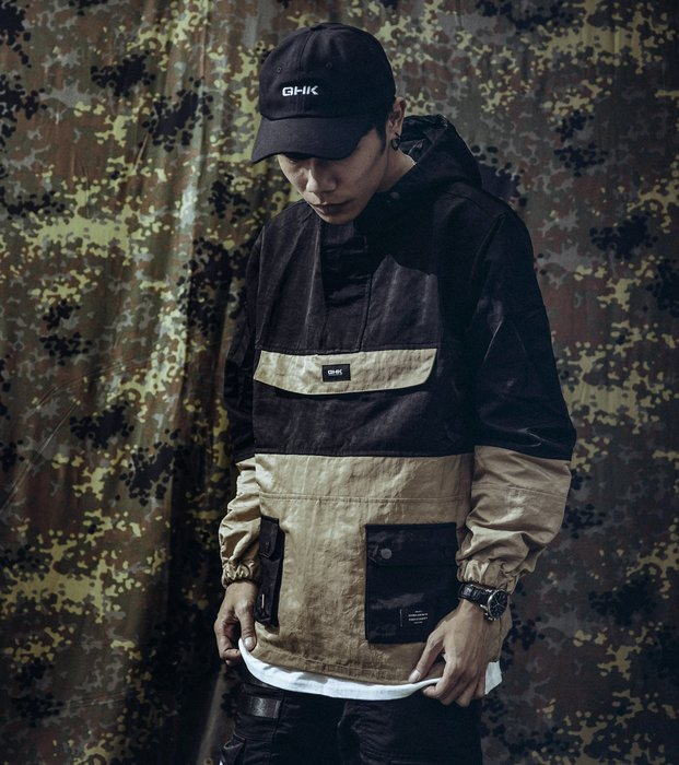 GHK Pullover Jacket G13 - Abstract 衝鋒衣 卡其/黑
