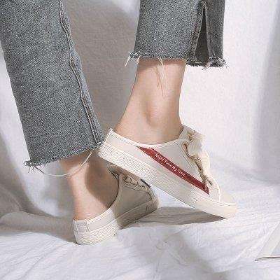 麥麥部落 小白鞋夏季女鞋子新品半拖小白鞋無後跟懶人鞋百搭一腳蹬MB9D8