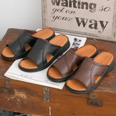 Ovan 男款 精選台灣製造真皮拖鞋 休閒氣墊拖鞋 MIT 大小尺碼