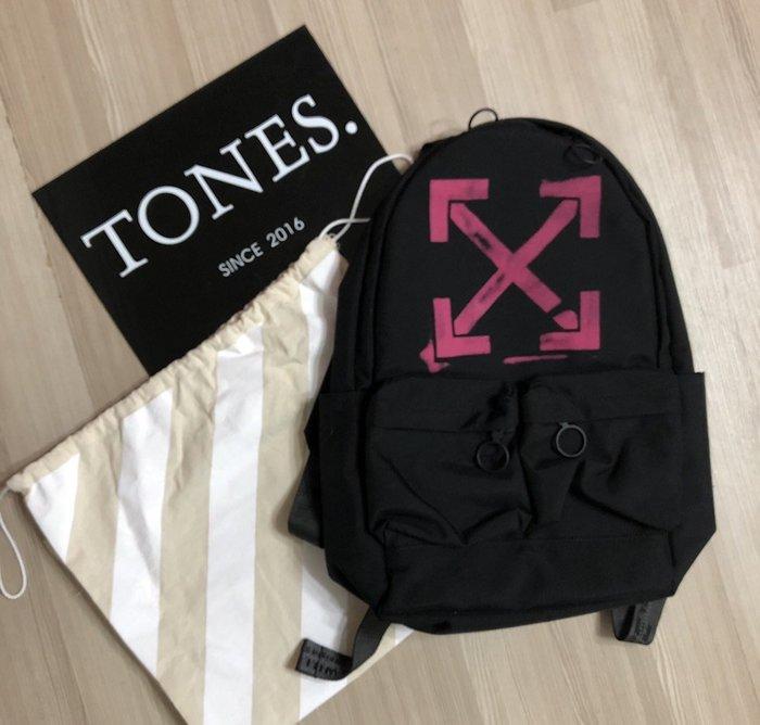 【TONES.】OFF-WHITE 19SS 粉紅箭頭 工業背帶 後背包