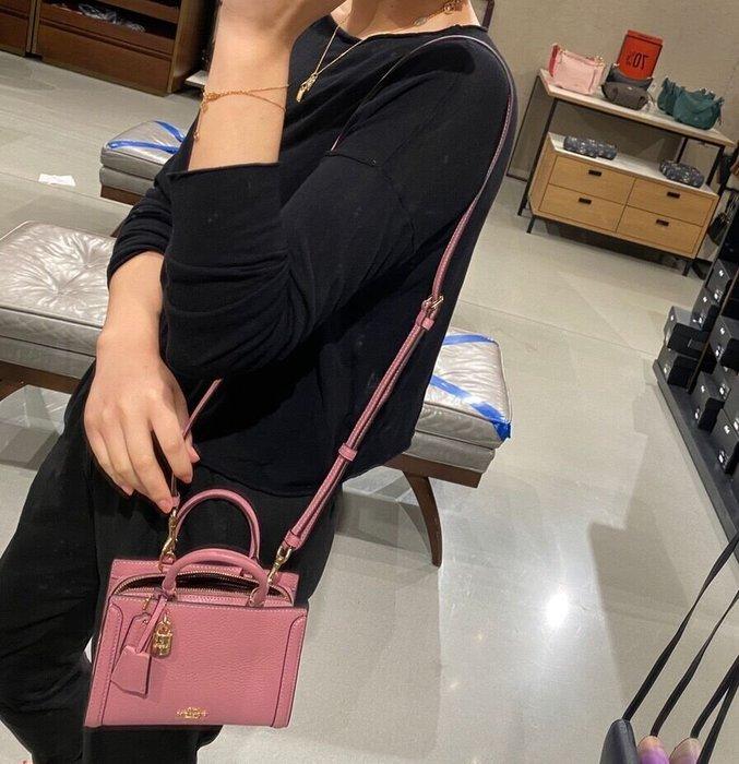 COACH 3015 新款女士Zoe迷你手提包 全素色方形小包包 單肩斜背包