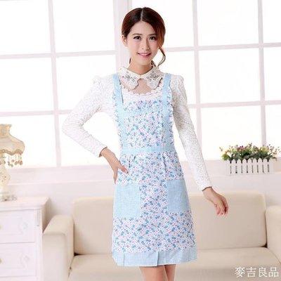 圍裙韓版圍裙加厚雙層防水圍腰韓式罩衣做飯廚房圍裙