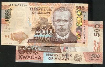 【紙幣】MALAWI (馬拉威), P61a , 500-KW , 2012 , 品相全新UNC