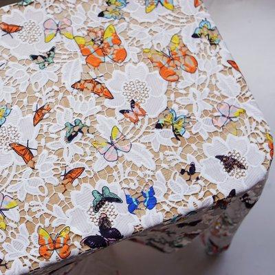 橙子的店 N8立體刺繡鏤空水溶蕾絲布料面料牛奶絲花朵面料彩色蝴蝶服裝輔料