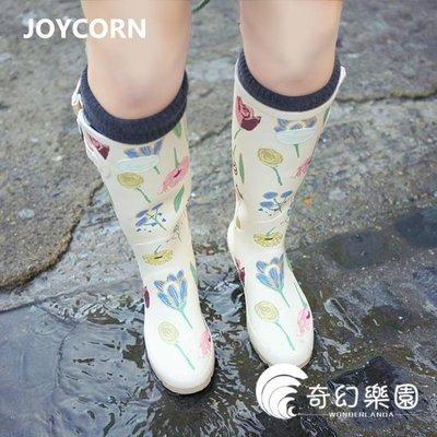 哆啦本鋪 雨鞋歐美女士碎花高筒橡膠雨鞋女 雨鞋女水鞋膠鞋防水鞋D655