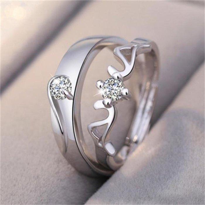 純銀情侶戒指男女一對學生日韓百搭簡約活口對戒指環節日禮物