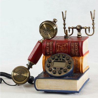 5Cgo 【批發】含稅會員有優惠 21725499321歐式復古古典電話 書本造型電話機 座機 家居書店裝飾轉盤/按鍵式