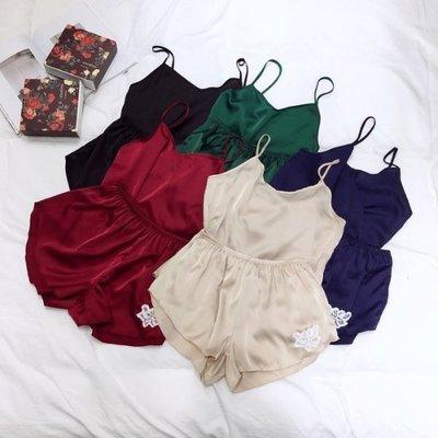 【Casi Cielo】V18301 春夏 超推薦兩件式緞面睡衣 細帶背心短褲 家居服 (黑/藍/酒紅/綠/米 現貨)