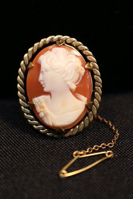 【家與收藏】特價極品珍藏法國百年古董精緻優雅仕女珍貴手工cameo貝雕珠寶小胸針/墜子