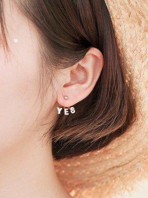 FEI日韓代購~慕司小d YES OR NO 不對稱酷帥耳環韓國簡約清新無耳洞夾耳釘飾女
