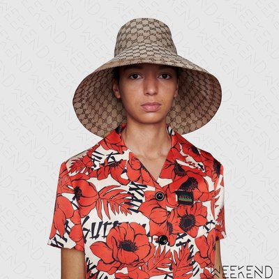 【WEEKEND】 GUCCI 滿版Logo 超大帽沿 漁夫帽 帽子 杏色 631958