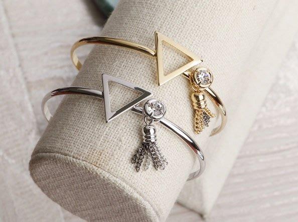 正韓三角框流蘇吊飾可調式手環 硬手環 手鍊 銀色 鎳色 簡約個性 百搭飾品  實拍現貨 米絲小姐玩時妝