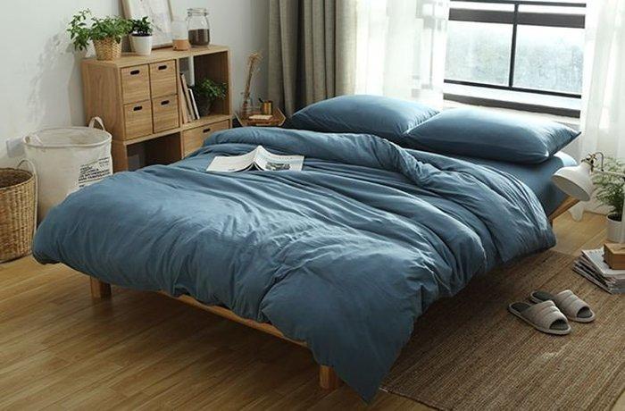 純棉親膚裸睡專用床包組(冷灰藍) 床包 床單 枕頭套 枕頭 床 棉被 被套 寢具 裸睡 純棉 床包組 拖鞋 室內拖鞋
