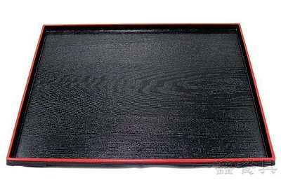 一鑫餐具【日式托盤 902-15 紅邊】紅邊托盤塑膠托盤麥當勞托盤防滑托盤竹托盤