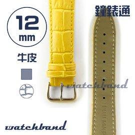 【鐘錶通】C1.40AA《霧面系列》鱷魚格紋-12mm 霧面橙黃┝手錶錶帶/皮帶/牛皮錶帶┥