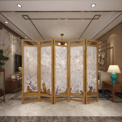 屏風 客廳隔斷 中國風中式屏風隔斷墻簡約現代客廳玄關中式臥室時尚實木折疊辦公室折屏