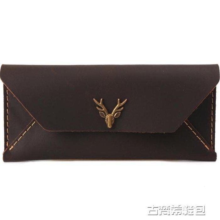 皮夾錢夾 皮錢包男長款手工刻字簡約超薄日韓青年學生情侶鹿頭錢夾