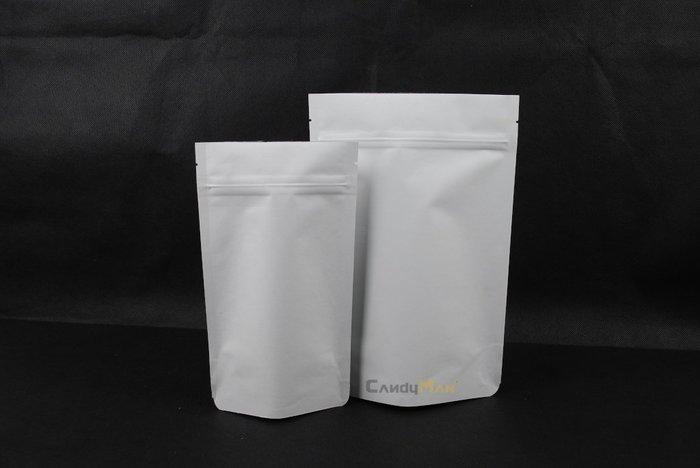 HBZ203_純白 白牛皮紙_1/4磅_夾鏈站立袋_含瑞士單向排氣閥(100入)