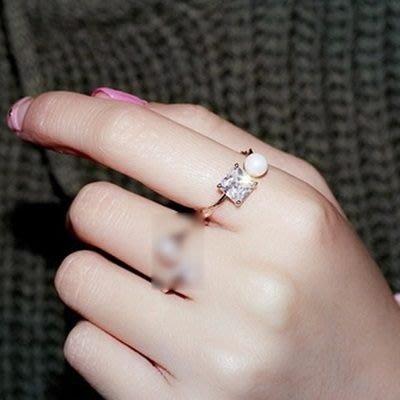 925純銀戒指 鑲鑽開口戒-韓版氣質迷人珍珠情人節生日禮物女飾品3色73dv2[獨家進口][巴黎精品]