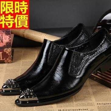 尖頭鞋 真皮皮鞋-英倫休閒商務套腳低跟男鞋子2款65ai29[獨家進口][米蘭精品]