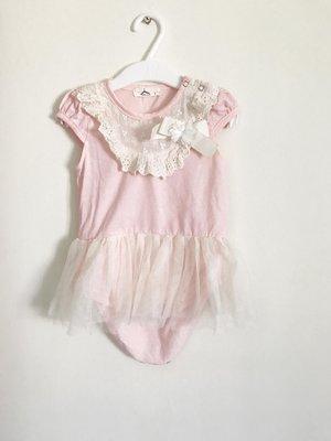【 製】兒童新生兒嬰兒 短袖*粉紅布蕾絲氣質花朵*6-12M 包屁衣